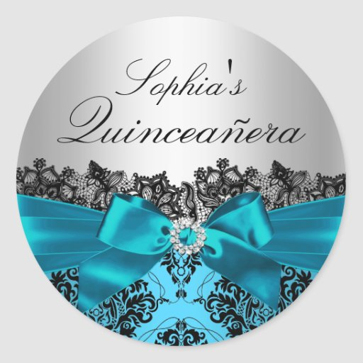 Teal Damask & Bow Quinceanera Sticker