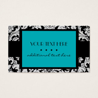 Teal Damask Business Card