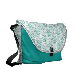 Teal Damask Commuter Bag