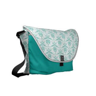 Teal Damask Courier Bag