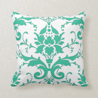 Teal Damask Design Pillow