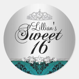 Teal Damask & Diamond Tiara Sweet 16 Sticker