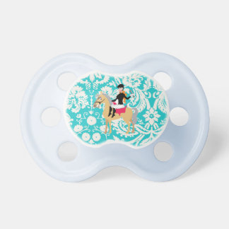 Teal Damask Equestrian Pacifiers