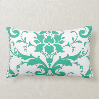 Teal Damask Graphic Lumbar Pillow