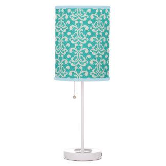 Teal Damask Home Decor Table Lamp