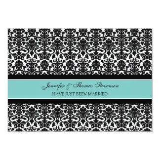 Teal Damask Just Married Announcement Cards