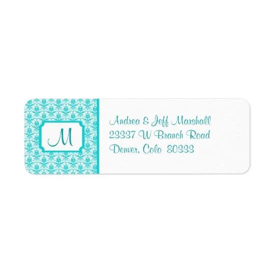 Teal Damask Monogram Return Address Label