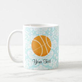 Teal Damask Patten Basketball Coffee Mug