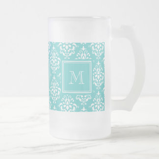 Teal Damask Pattern 1 with Monogram Frosted Glass Mug