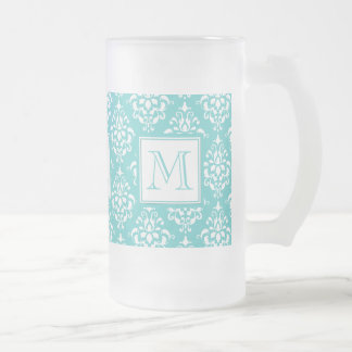 Teal Damask Pattern 1 with Monogram Frosted Beer Mugs