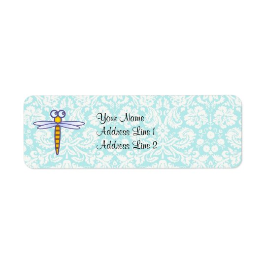 Teal Damask Pattern Dragonfly Return Address Label