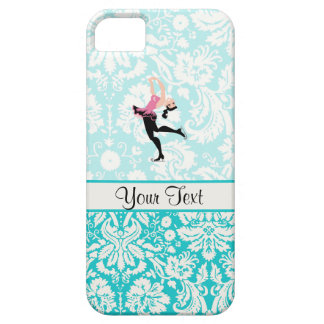 Teal Damask Pattern Ice Skating iPhone 5 Cases