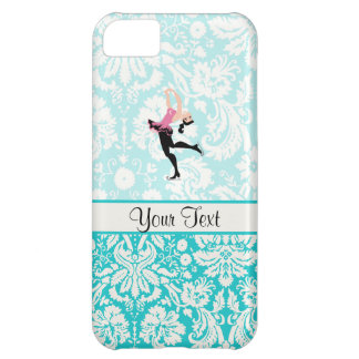 Teal Damask Pattern Ice Skating iPhone 5C Covers