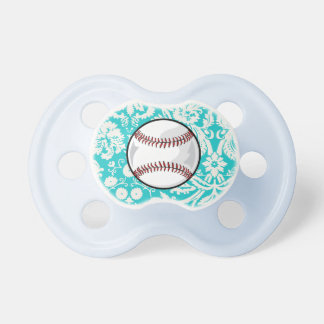 Teal Damask Pattern Softball Baby Pacifier