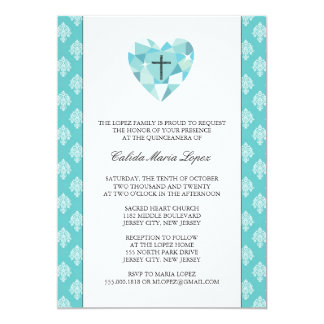 Teal Damask Quinceanera Invitations