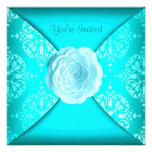 Teal Damask Rose Teal Blue All Occasion Personalized Announcement