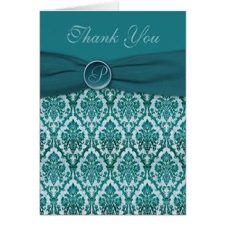 Teal Damask Thank You Card