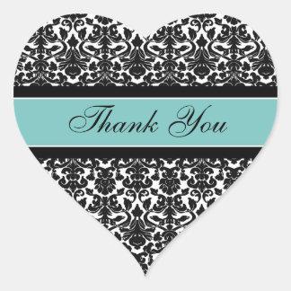 Teal Damask Thank You Wedding Envelope Seals Heart Sticker