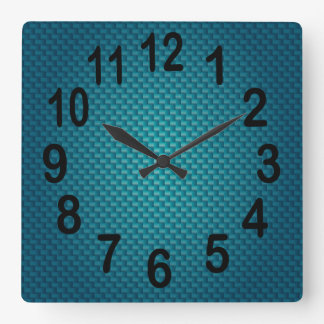 Teal Dark Blue Weave | Bold Numbers Square Wall Clock