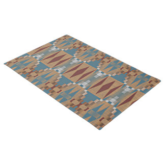 Teal Dark Red Tan Brown Ethnic Mosaic Pattern Doormat