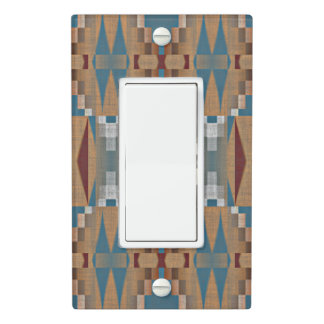 Teal Dark Red Tan Brown Ethnic Mosaic Pattern Light Switch Cover