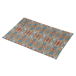 Teal Dark Red Tan Brown Ethnic Mosaic Pattern Placemat