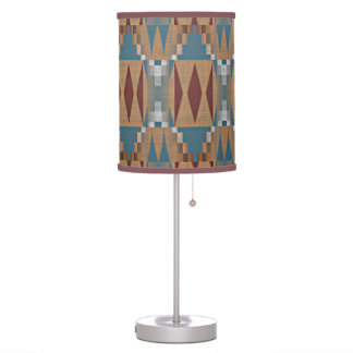 Teal Dark Red Tan Brown Ethnic Mosaic Pattern Table Lamp