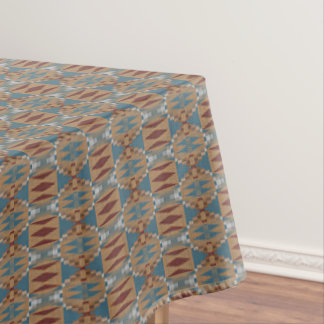Teal Dark Red Tan Brown Ethnic Mosaic Pattern Tablecloth