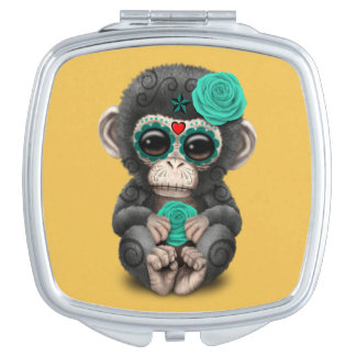 Teal Day of the Dead Sugar Skull Baby Chimp Vanity Mirror