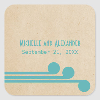 Teal Deco Chic Wedding Stickers