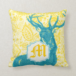 Teal Deer on Yellow Vintage Floral Pattern Throw Pillow