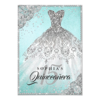 Teal Diamond Lace Sparkle Gown Quinceanera Card