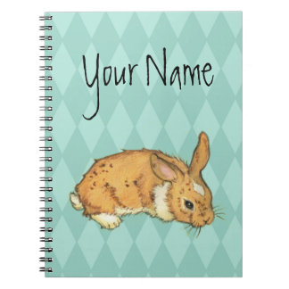 Teal Diamond Pattern Bunny Notebook