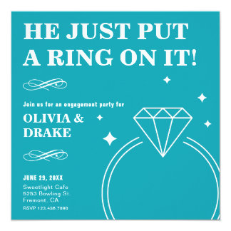 Teal Diamond Ring | Engagement Party Invitation