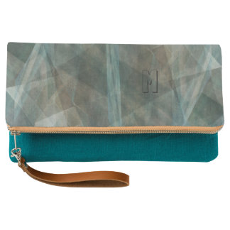 Teal Digital Abstract Monogram Clutch