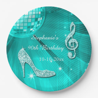 Teal Disco Ball and Heels 90th Birthday Paper Plate