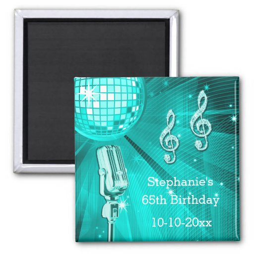 Teal Disco Ball and Retro Microphone 65th Birthday Fridge Magnet