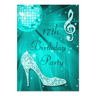 "Teal Disco Ball and Sparkle Heels 17th Birthday 5"" X 7"" Invitation Card"