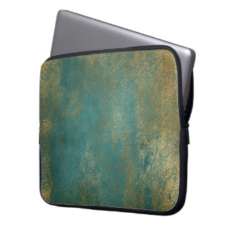 Teal Distressed Gold Texture Laptop Sleeve