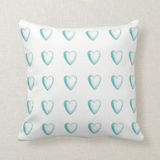 Teal Doodle Heart & Striped Throw Pillow