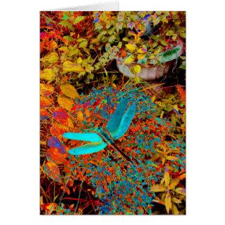 Teal Dragonfly Card