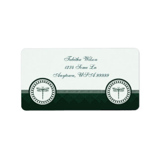 Teal Dragonfly Emblem Address Label