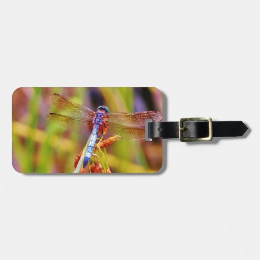Teal Dragonfly on sedge Travel Bag Tags