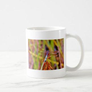 Teal Dragonfly on sedge Coffee Mugs