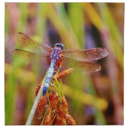 Teal Dragonfly on sedge Cloth Napkin