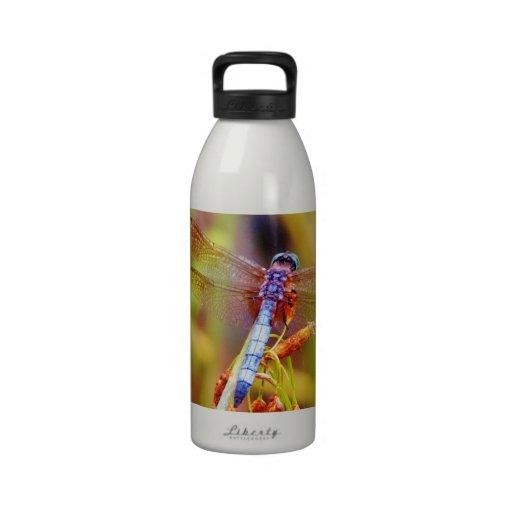 Teal Dragonfly on sedge Drinking Bottle