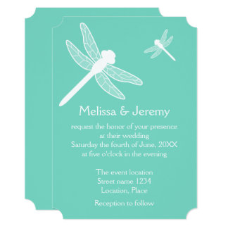 Teal Dragonfly Wedding Card
