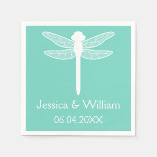 Teal Dragonfly Wedding Paper Napkin