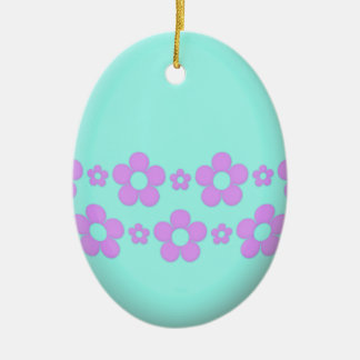 Teal Easter Egg With Flowers Ceramic Oval Ornament