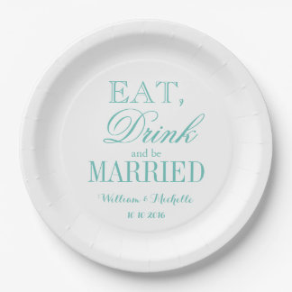 Teal Eat drink and be married paper wedding plates